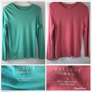Lot of 2 Talbots Pima Cotton Shirts Womens Medium
